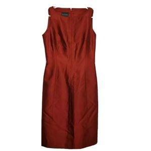 Kay Unger Dress Red Knee Length Sleeveless Silk 6